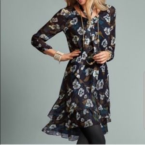 CAbi Pirouette Blue Floral Chiffon Ruffled Dress